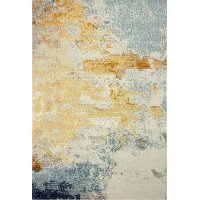 4 x 6 Small Traditional Alba Ivory, Gold and Blue Rug - Everek