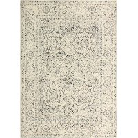 E110-SIL-4X6-5363 4 x 6 Small Traditional Alberta Ivory and Blue Rug - Everek