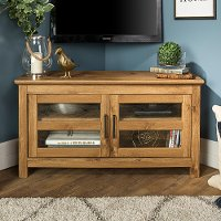 44 Inch Transitional Modern Farmhouse Wood Corner TV Stand - Barnwood