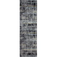 Traditional Dark Gray and Blue 8 Foot Runner Rug - Everek