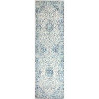 Traditional Mariela Ivory and Blue 8 Foot Runner Rug - Everek