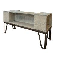 Industrial Pine Sofa Table with Iron Legs - Vista