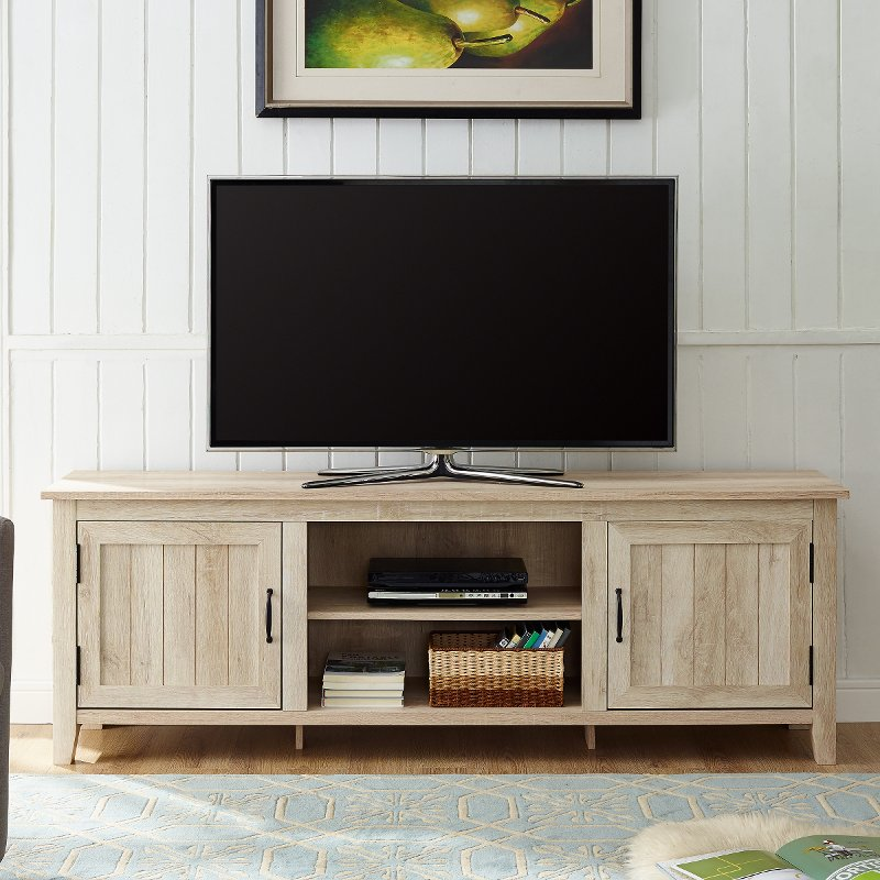70 Inch Modern Farmhouse Wood Tv Stand White Oak Rc Willey Furniture Store