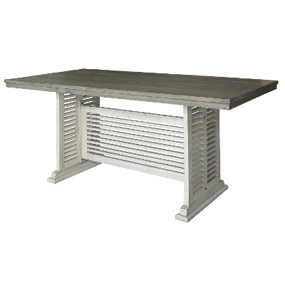 Farmhouse White and Gray Counter Height Dining Table - Stone