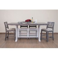 Farmhouse White and Gray 5 Piece Counter Height Dining Set with Gray Stools - Stone