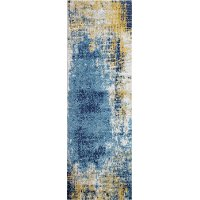 E110-MULTI-3X8-5634A Traditional Nikki Ivory, Gold and Blue 8 Foot Runner Rug - Everek
