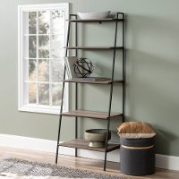 72 Inch Industrial Ladder Bookcase - Gray Wash