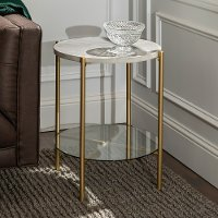 Modern Round Side Table - White Marble & Gold