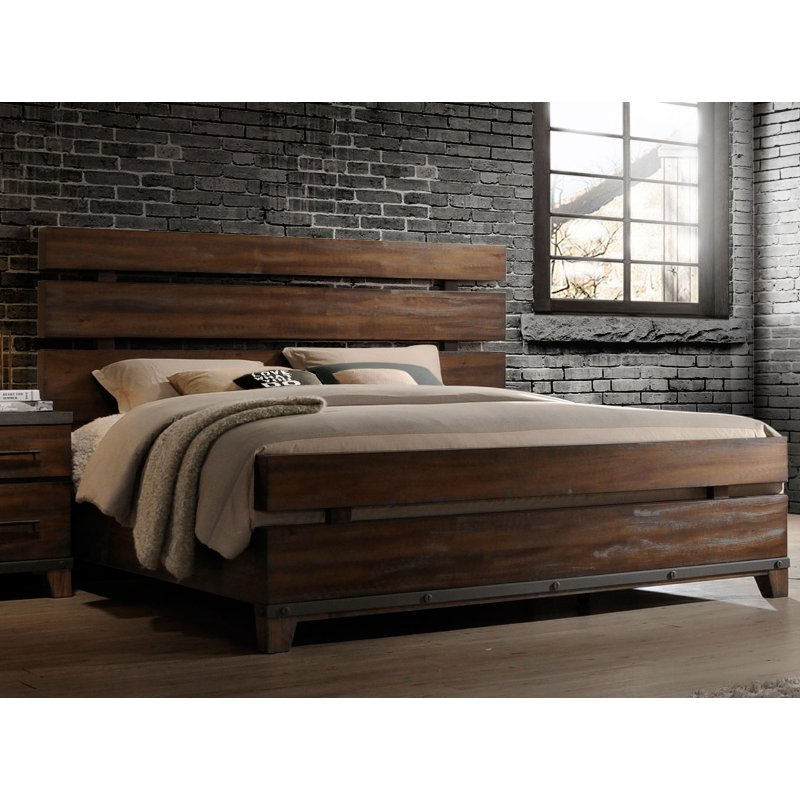 Modern Rustic Brown King Size Bed Forge Rc Willey Furniture Store