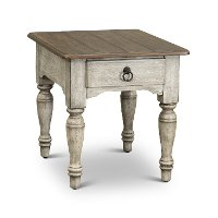 Antique White and Dark Wood End Table - Plymouth