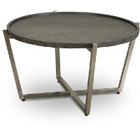 Dark Brown and Stainless Steel Round Coffee Table - Platform