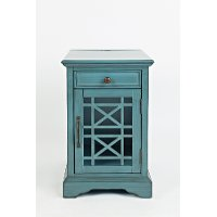 Aqua Blue Chairside Table - Craftsman