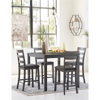 Transitional Gray 5 Piece Counter Height Dining Set - Bridson