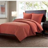 Orange Red Fairview Queen 3 Piece Bedding Collection