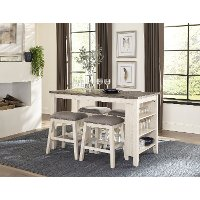 White and Brown 5 Piece Counter Height Dining Set - Timbre