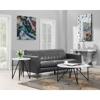 Contemporary Round Marble Coffee Table - Cedric