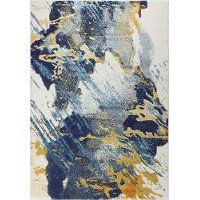 8 x 10 Large Traditional Neda Ivory, Gold and Blue Rug - Everek