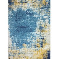 8 x 10 Large Traditional Nikki Ivory, Gold and Blue Rug - Everek