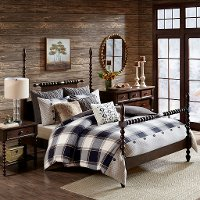Black, Tan and Ivory King Urban Cabin 9 Piece Bedding Collection