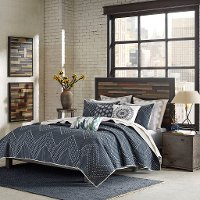 Navy and Light Taupe 3 Piece King Pamona Coverlet Bedding Set