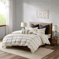 Natural White and Charcoal Queen Rhea 3 Piece Bedding Collection