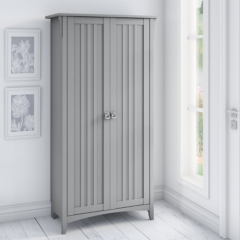 Gray Tall Storage Cabinet With Doors