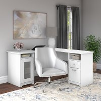 White L Shaped Computer Desk with Mid Back Leather Box Chair - Cabot