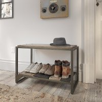 Distressed Rustic Gray Shoe Storage Bench - Refinery