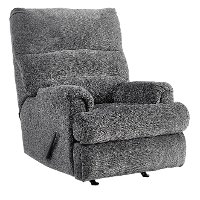 Casual Contemporary Charcoal Gray Rocker Recliner - Manfort