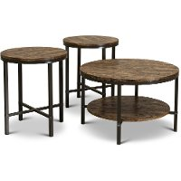 Rustic Round Coffee Table Set - Sedona