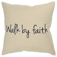 Canvas Walk By Faith Throw Pillow with Black Script