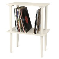 Victrola Wooden Stand with Record Holder - White