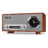 Bluetooth Analog Clock Stereo - Mahogany