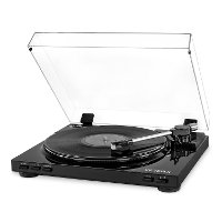 Pro USB Record Player with 2-Speed Turntable and Dust Cover - Black