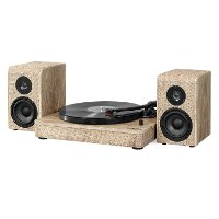 Wood and Linen Fabric Bluetooth Record Player