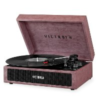 Suitcase Record Player - Dusty Rose Lambskin