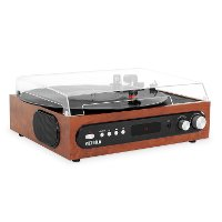 Mahogany Record Player with Built-in Speaker