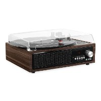 Espresso Victrola 3-in-1 Bluetooth Record Player with Built in Speakers