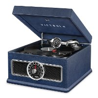 Victrola Nostalgic Bluetooth Record Player with CD, Radio, and Record Storage