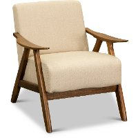 Light Brown Modern Accent Chair with Exposed Wood Frame - Damala
