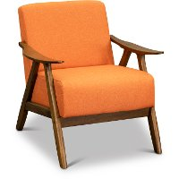 Orange Modern Accent Chair with Exposed Wood Frame - Damala
