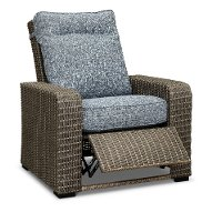 Gray Wicker Patio Recliner Chair with Blue Cushions - Lemans