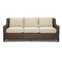 Espresso Brown Patio Sofa with Natural Cushion - Avalon