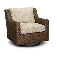 Wicker Swivel Patio Chair with White Cushion - Avalon