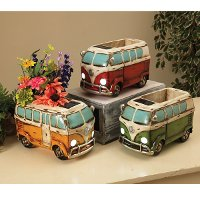 Assorted 11 Inch Solar Lighted Resin Antique Hippie Wagon Planter