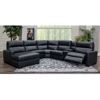 Blue 6 Piece Power Reclining Sectional Sofa with Left-arm Facing Chaise - Angler