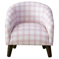 47-1K Pink Gingham Kids Accent Chair