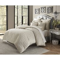 Carlyle Light Gray and Metallic Queen 9 Piece Bedding Collection