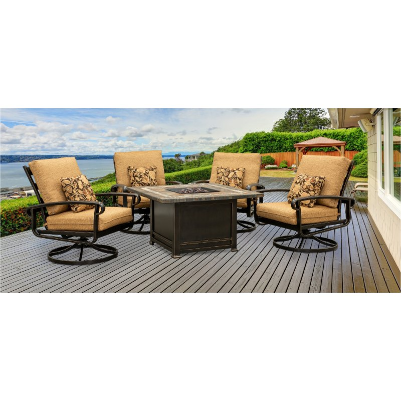 Traditional 5 Piece Patio Fire Pit Set