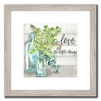 Love The Little Things and Vintage Bottles Framed Wall Art
